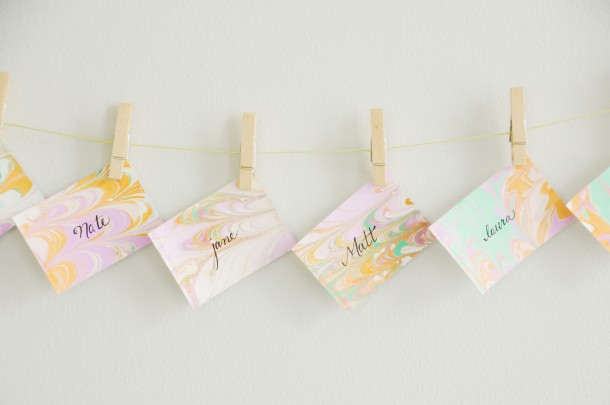 DIY Marbled Paper Cards