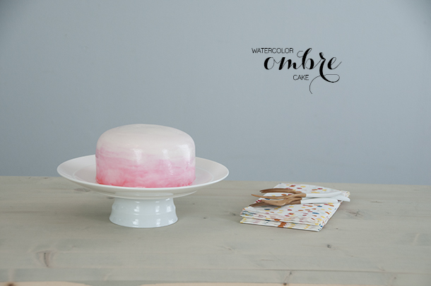 ombre watercolor cake