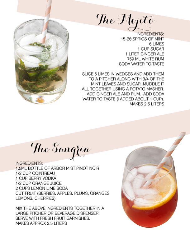 summer cocktails - sangria and mojito