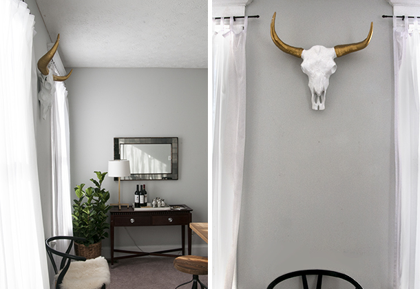 longhorn skull in dining room