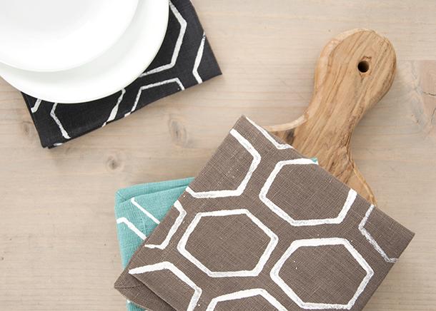 geometric honecomb stamped fabric