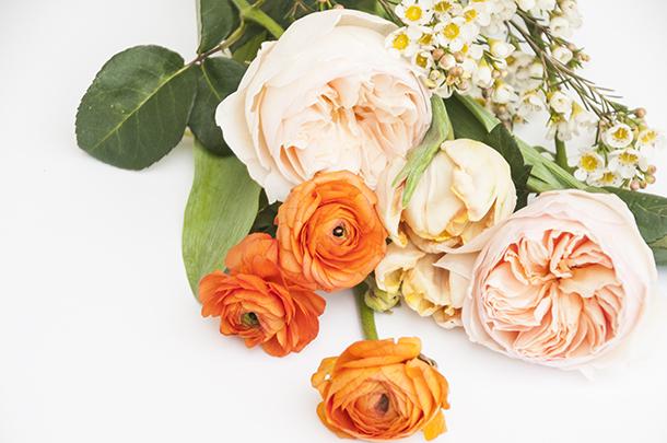 choosing flowers for an arrangement