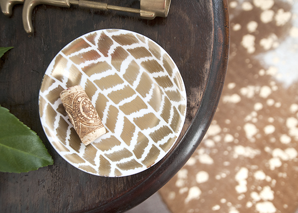 gold herringbone trinket dish