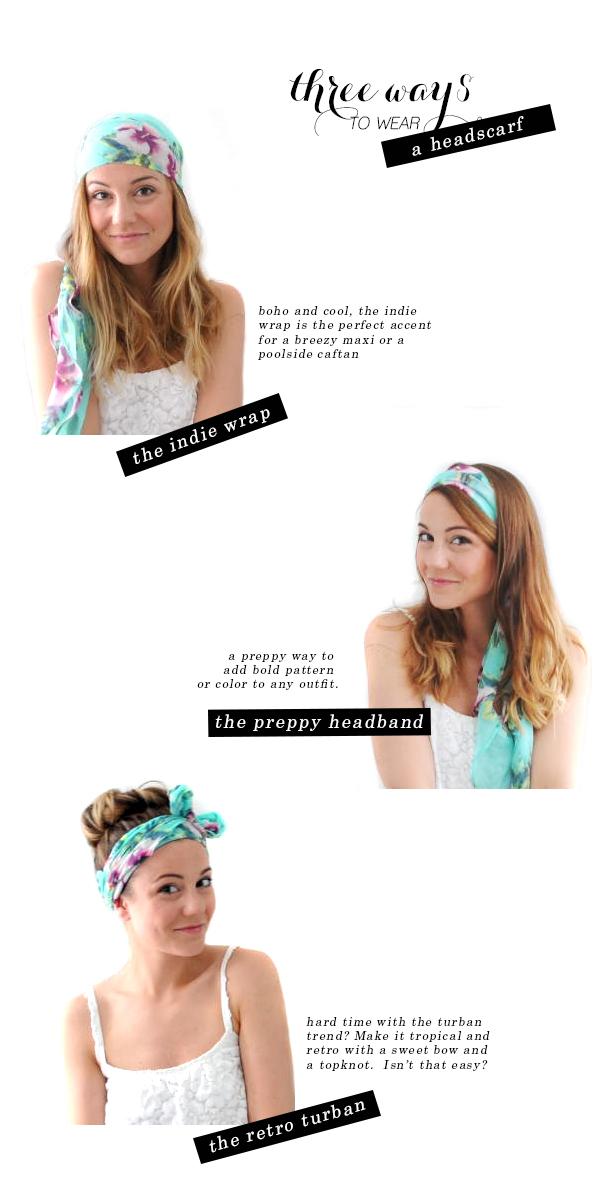 three ways to tie a headscarf