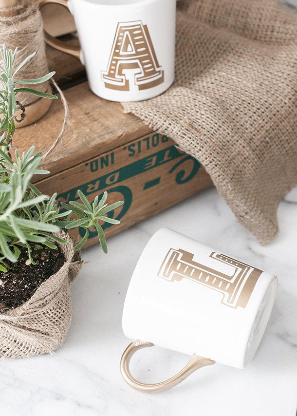 gold monogram gift mugs
