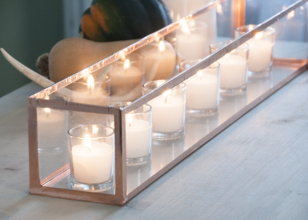 copper glass lantern centerpiece