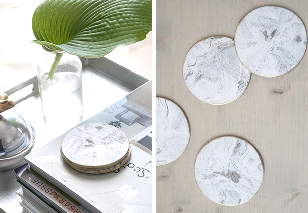 faux marble coaster diy