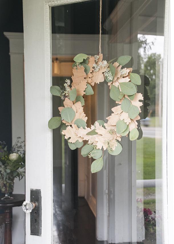 wooden leaf wreath