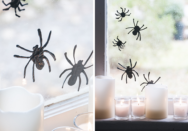 puff paint spiders on windows