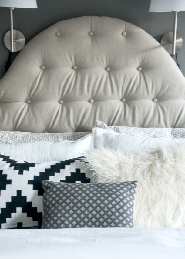 diy tufted linen headboard king